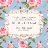 Wedding invitation with roses. Vintage wedding invitation with baroque frame and roses Royalty Free Stock Images