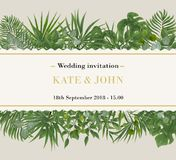 Wedding Invitation, rsvp modern card Design. Vector natural, bot. Anical, elegant template.