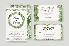 Wedding Invitation, rsvp modern card Design. Vector natural, bot. Wedding Invitations, RSVP modern card design. watercolor, Botanical, natural style. save the stock illustration