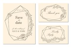 Wedding invitation, rsvp, save the date card design with floral. Frame, peony flowers, leaves. Vector illustation stock illustration