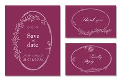 Wedding invitation, rsvp, save the date card design with floral stock illustration