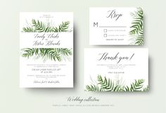 Wedding invitation, rsvp, thank you cards floral design with green tropical forest palm leaves, eucalyptus branches & cute greene royalty free illustration