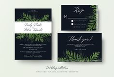 Wedding invitation, rsvp, thank you cards floral design with green tropical forest palm leaves, eucalyptus branches & cute greene. Ry herbal mix decoration on royalty free illustration