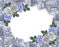 Wedding invitation satin and roses stock image
