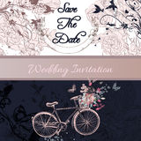 Wedding invitation or save the date card with bicycle and roses Stock Images
