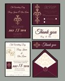 Wedding invitation , Save the date, RSVP card, Thank you card,Gi. Ft tags, Place cards, Respond card Royalty Free Stock Images