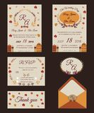 Wedding invitation , Save the date, RSVP card, Thank you card, T. Able number, Gift tags, Place cards, Respond card Stock Photo