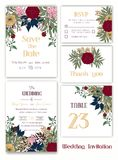 Wedding invitation , Save the date, RSVP card, Thank you card, T. Able number, Gift tags, Place cards, Respond card stock illustration