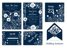 Wedding invitation , Save the date, RSVP card, Thank you card, T. Able number, Gift tags, Place cards, Respond card royalty free illustration
