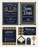 Vector set of invitation cards with elements Wedding collection royalty free illustration