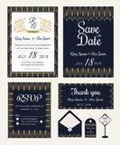 Vector set of invitation cards with  elements Wedding collection Stock Photos
