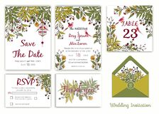 Wedding invitation , Save the date, RSVP card, Thank you card, T. Able number stock illustration