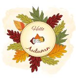 Autumnal wreath frame with colorful leaves and dry grass adorned by acorns on background, Vector illustration. 