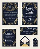 Vector set of invitation cards with  elements Wedding collection Royalty Free Stock Photo