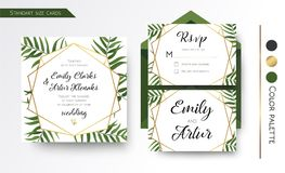 Wedding Invitation, save the date, rsvp invite card Design with. Green tropical forest palm tree leaves, forest  greenery simple, geometric golden border Stock Images