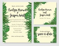 Wedding Invitation, save the date, rsvp invite card Design with. Green tropical forest palm tree leaves, forest greenery simple. Vector illustration in trendy Royalty Free Stock Photos