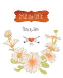 Wedding invitation. Save the date template with chamomile flowers Royalty Free Stock Photo