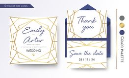 Wedding Invitation, save the date, thank you invite card design. With simple, Geometric golden foil border hexagonal frame. Vector modern abstract template Stock Photography