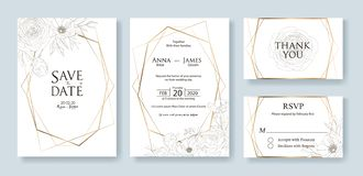 Wedding Invitation, save the date, thank you, rsvp card Design template. Vector. Flower, rose, greenery. stock image
