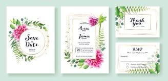 Wedding Invitation, save the date, thank you, rsvp card Design template. Vector. Pink dahlia flowers, fern leaf, silver dollar lea