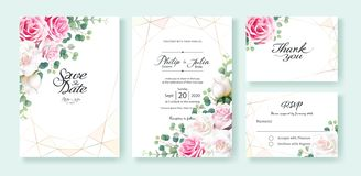 Pink and white rose flowers Wedding Invitation, save the date, thank you, rsvp card Design template. Vector. Silver dollar