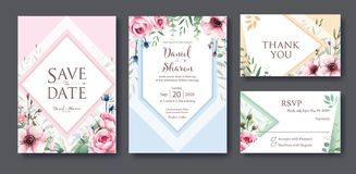Wedding Invitation, save the date, thank you, rsvp card Design template. Vector. Queen of sweden rose flower, leaves, Anemone plan stock illustration