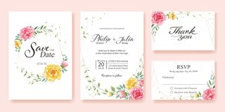 Wedding Invitation, save the date, thank you, rsvp card Design template. Yellow and pink flower, silver dollar, olive leaves, Wax royalty free illustration