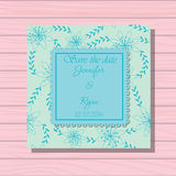 Wedding invitation scuba blue colros on wooden background Stock Image