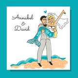 Wedding invitation in the sea style. A young man with a mermaid in a wedding dress on the beach. Stock Photos