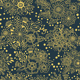 Flower bouquets vector seamless pattern. Floral decorative grey background with gold ornaments Royalty Free Stock Photography