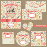 Wedding invitation set with autumn pattern Stock Photos