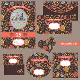 Wedding invitation set with autumn pattern Royalty Free Stock Photo