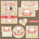 Wedding invitation set with autumn pattern Royalty Free Stock Photography