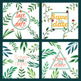 Wedding invitation set. Birthday card. Floral frame. Watercolor background with flowers. Stock Image