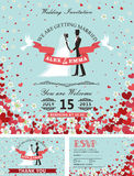 Wedding invitation set.Bride, groom,falling hearts,flowers Stock Photography