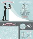 Wedding invitation set.Bride,groom,Paris Winter. Wedding design template set.Winter,Christmas season.Bride in white dress and groom,snowflakes ornament,Eiffel Royalty Free Stock Photo