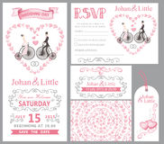 Wedding invitation set.Bride,groom,retro bike,Pink decor Stock Photos