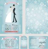 Wedding invitation set.Bride,groom.Winter royalty free illustration