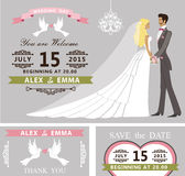 Wedding invitation set. Cartoon bride and groom Royalty Free Stock Photography