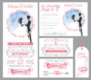 Wedding invitation set.Couple bride,griim,Pink,swirling decor Royalty Free Stock Images