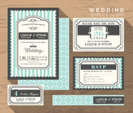 Wedding invitation set design Template. Vector place card response card save the date card Royalty Free Stock Images