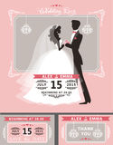 Wedding invitation set.Flat bride and groom Stock Images