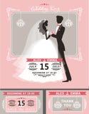 Wedding invitation set.Flat bride and groom Stock Images