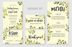 Wedding Invitation set, floral invite, thank you, rsvp card Design. Forest leaf, fern, branches, buxus, eucalyptus. Flowers. Of white lily, gerbera, dahlia stock illustration