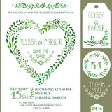 Wedding invitation set.Green watercolor branches heart wreath Stock Photography