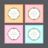 Wedding invitation set. Greeting card with round flower frame. W stock illustration