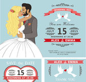 Wedding invitation set.Kissing Cartoon bride and Stock Photos