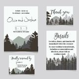 Wedding invitation set with mountains invitation card. Wedding invitation set with mountains and fir-tree. winter invitation card vector illustration