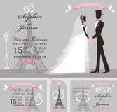 Wedding invitation set.Retro Bride,groom,Eiffel tower Royalty Free Stock Photos