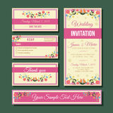 Wedding invitation set. Set of template wedding invitation in floral theme. file in eps 10 file, with no gradient meshes,blends,opacity, stroke path,brushes stock illustration